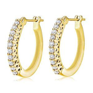 Hoop Earring Yellow Gold Jewelry 2 Carats Round Cu